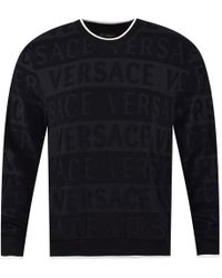 Versace - Black Towel Logo Sweatshirt - Lyst