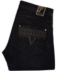 Versace - Crystal Studded Pocket Jeans - Lyst