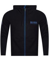 BOSS Athleisure - Black/blue Mesh Panel Hoodie - Lyst