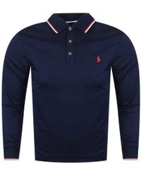 Polo Ralph Lauren - Navy Tipped Long Sleeved Polo Shirt - Lyst