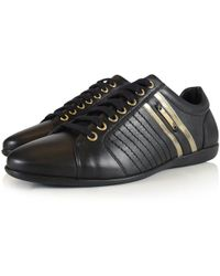 Versace - Black/gold Detailing Trainers - Lyst
