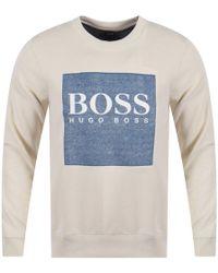 BOSS - Casual Off White Wedford Sweatshirt - Lyst