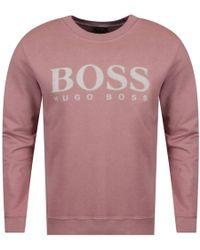 BOSS Orange - Hugo Boss Pink Spray Logo Sweatshirt - Lyst