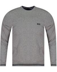 BOSS Athleisure - Grey Crewneck Knit Jumper - Lyst