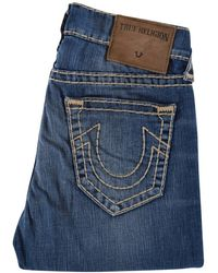 True Religion - Flagstone Geno Relaxed Slim Blue Jeans - Lyst