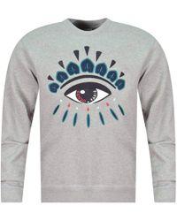 KENZO - Dove Grey Eye Logo Sweatshirt - Lyst