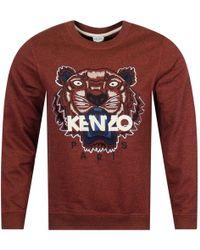 KENZO - Bordeaux Red Tiger Logo Sweatshirt - Lyst