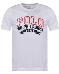 3886055e2 Lyst - Polo Ralph Lauren Embroidered-logo Cotton-jersey T-shirt in ...