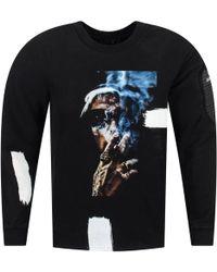 RH45 - Blue Smoke Black Crew Neck Sweatshirt - Lyst