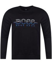 BOSS Athleisure - Black Stitched Logo Sweatshirt - Lyst