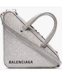 Balenciaga - Silver Metallic Triangle Glitter Leather Shoulder Bag - Lyst