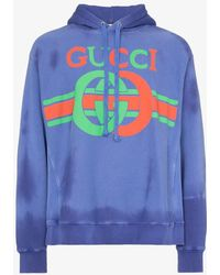 9f9cdebca75 Lyst - Gucci Logo-print Cotton-jersey Hooded Sweatshirt in Pink for Men