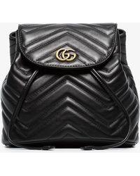 6ccde6e09 Gucci - Ladies Black Chevron Leather GG Marmont Matelassé Backpack - Lyst