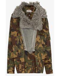 Preen By Thornton Bregazzi - Dree Shearling Collar Camouflage Cotton Blend Jacket - Lyst