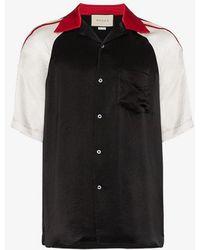 1d016b14e29 Gucci Black Cat Print Silk Bowling Shirt in Black for Men - Lyst