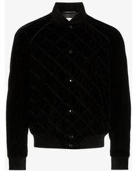 Saint Laurent - Velvet Cotton Blend Teddy Bomber Jacket - Lyst