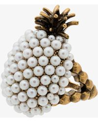 Gucci - Faux Pearl Embellished Pineapple Ring - Lyst