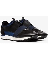 Balenciaga - Navy Race Runner Panel Sneakers - Lyst