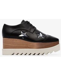Stella McCartney - Black Elyse 80 Faux Leather Star Embellished Flatform Brogues - Lyst