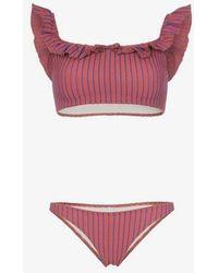 Solid & Striped - Solid & Striped Paloma Striped Ruffle Bikini - Lyst