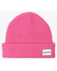 Ganni - Knitted Logo Beanie - Lyst