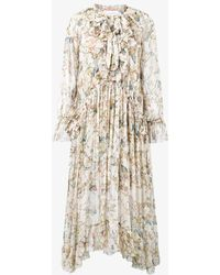 Zimmermann - Painted Heart Ruffle Midi-dress - Lyst