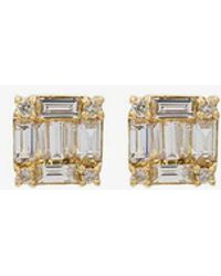 SHAY - Square Stacked Baguette Stud Earrings - Lyst