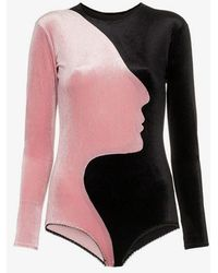 Alexia Hentsch - X Browns Face Panelled Velvet Bodysuit - Lyst