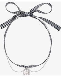 Miu Miu | Gingham Horseshoe Necklace | Lyst
