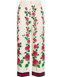 Gucci - Rose Garden Print Silk Pajama Pants - Lyst