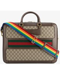 Gucci - Leather Rainbow Strap Gg Briefcase - Lyst