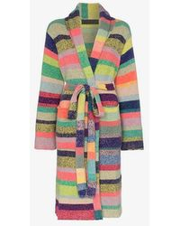 The Elder Statesman - Stripe Belted Cashmere Cardigan - Lyst