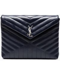 Saint Laurent - Blue Lou Lou Leather Document Holder - Lyst