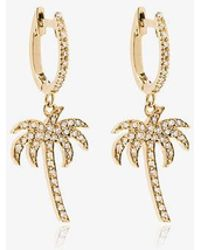 Ileana Makri 18k Yellow Gold Palm Tree Hoops With White Diamonds - Metallic