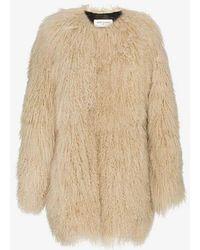 Saint Laurent - Oversized Mongolian Lamb Fur Coat - Lyst