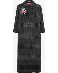 Miu Miu - Checked Coat With Embroidered Patches - Lyst
