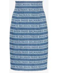 cff1c8f509 Balmain - Denim Stripe Logo Pencil Skirt - Lyst