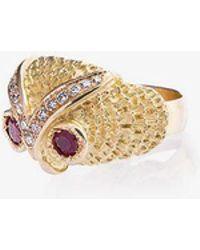 Yvonne Léon - Gold Owl Diamond Ring - Lyst