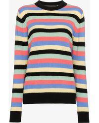 The Elder Statesman - Multicolour Stripe Round Neck Cashmere Jumper - Lyst