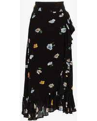 Ganni - Georgette Floral And Daisy Wrap Skirt - Lyst
