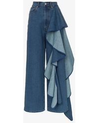Solace London - Tay High-waisted Wide Leg Ruffle Detail Jeans - Lyst