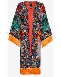 Etro - Fringed Floral-print Jacquard Kimono - Lyst