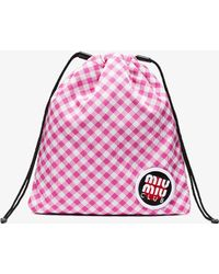 Miu Miu - Pink Club Patch Gingham Pouch - Lyst