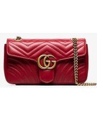 4bc9e6fb88824c Gucci - Red GG Marmont Small Leather Matelassé Shoulder Bag - Lyst