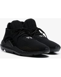 Y-3 - Black Lace-up 'saikou' Leather Trainers - Lyst