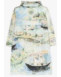 Off-White c/o Virgil Abloh - Printed Hooded Cape Coat - Lyst