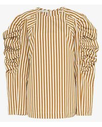 Dries Van Noten - Stripe Print Puff Sleeve Cotton Blouse - Lyst