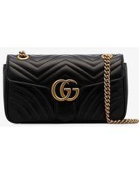 f1d225e42 Gucci - Black GG Marmont Small Matelassé Leather Shoulder Bag - Lyst