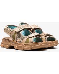 8dc4b84ac Gucci - Brown Aguru Leather And Mesh Hiking Sandals - Lyst