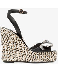 Sophia Webster - Black, White And Beige Soleil Lucita 140 Leather Sandals - Lyst